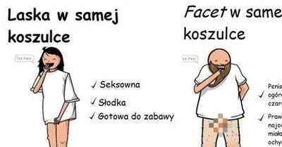 f6ac9514679147 Szamponik.pl - W samej koszulce - kobieta VS mężczyzna